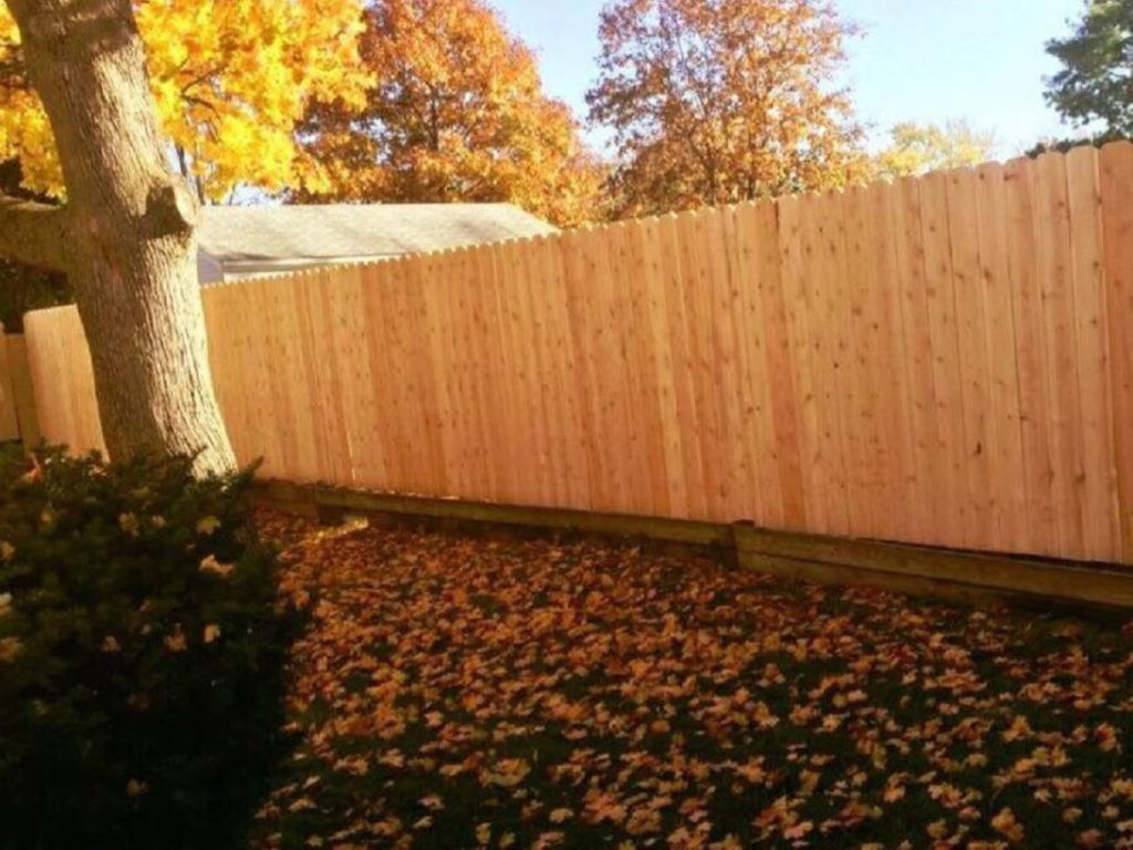 Wooden fence in fall